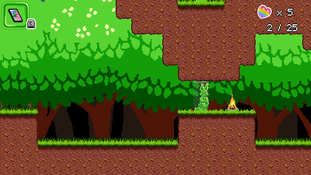 Screenshot of the same area, but the player is now green slime and free to pass through the fence