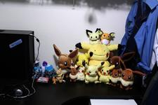 The two biggest Eevees are different life-size releases.  Far right Eevee talks!  And something here is out of place...