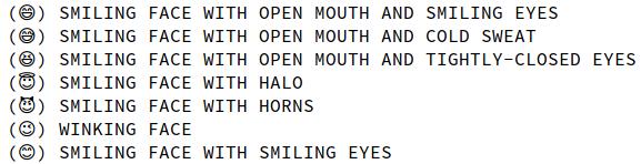 Screenshot of emoji rendered as simple outlines