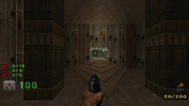 The iconic opening view of Doom II