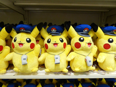 photo of Pikachu plushes on a shelf