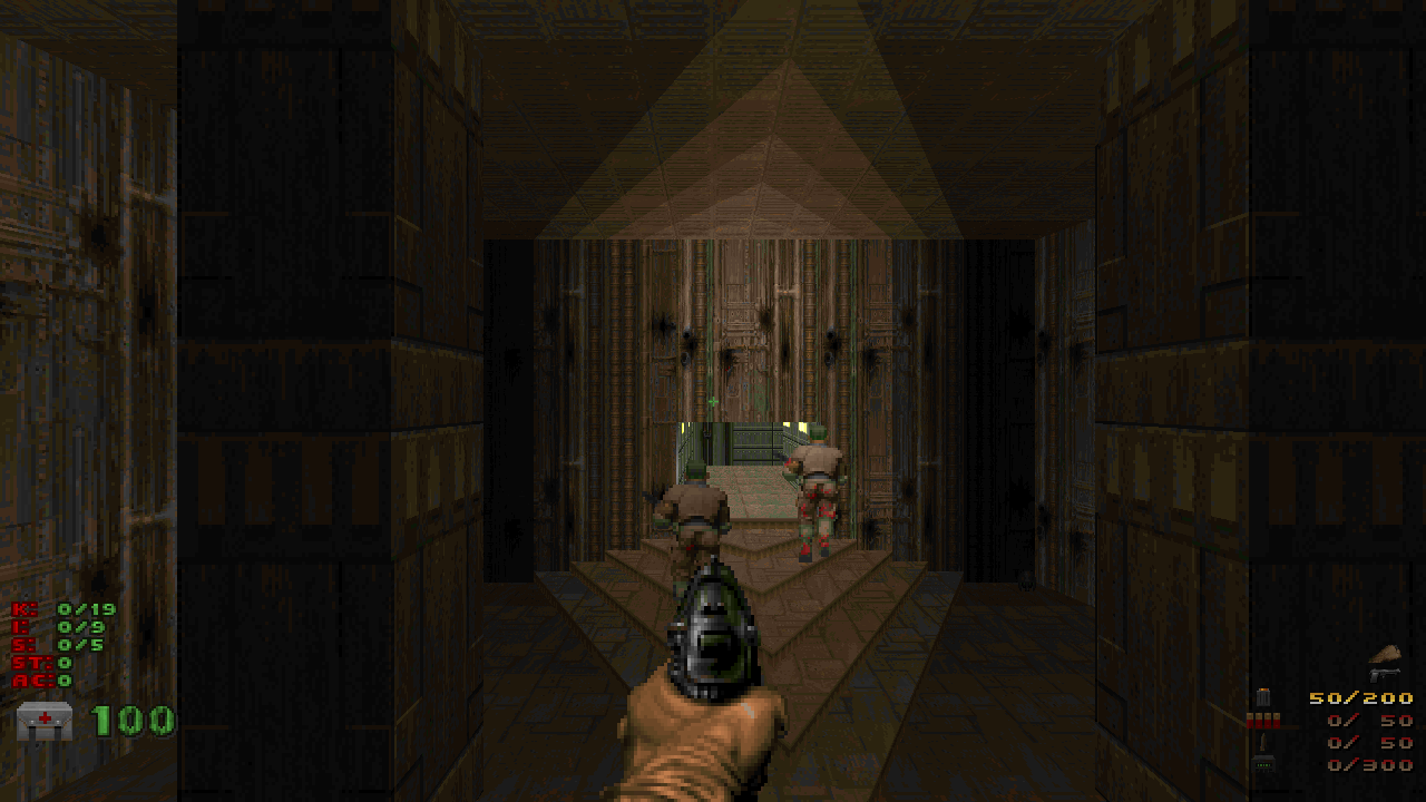 The opening scene of Doom II, but with the player and visible enemies much larger