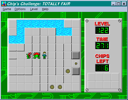 A small maze containing a couple monsters and ending at a brown button