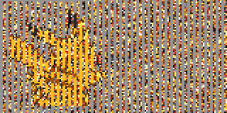 A somewhat obscured Pikachu sprite; half of the columns are garbled