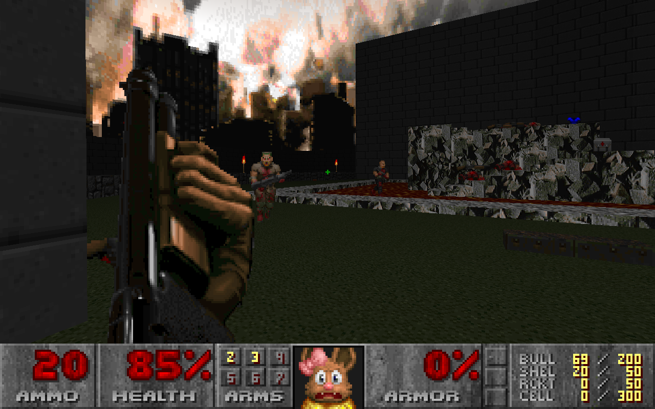 Screenshot of Industrial Zone from Doom II, with an Eevee face replacing the usual Doom marine in the status bar
