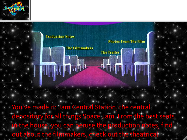 Screenshot of the Space Jam website's 'Jam Central'