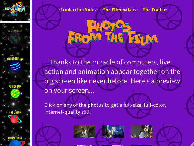 Screenshot of the Space Jam website's photos page