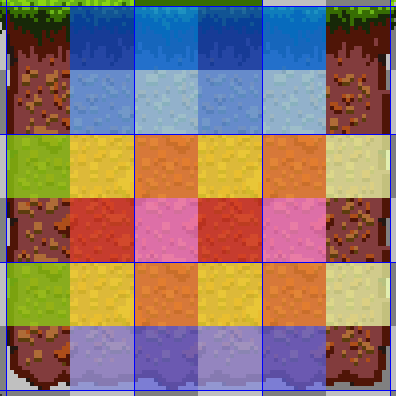 A set of dirt tiles from fox flux, colored to indicate where different tiles have identical corners
