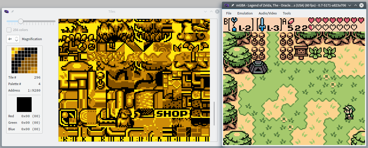 Oracle of Ages and its live tilemap, with tiles spelling SHOP clearly visible