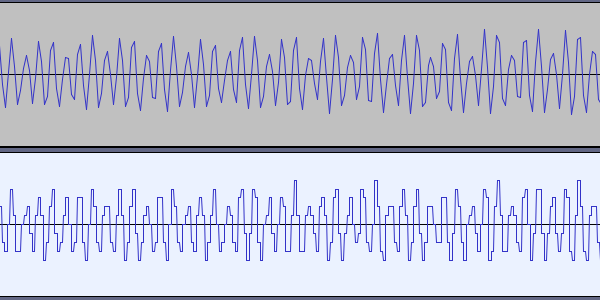 Waveforms of the original sound and its bitcrushed form; the latter is very blocky