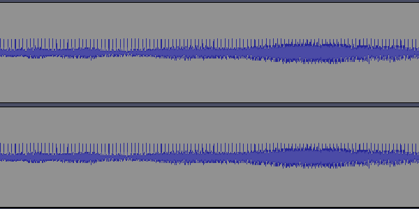 The above sound's waveform, which resembles the original, but with regularly spaced spikes