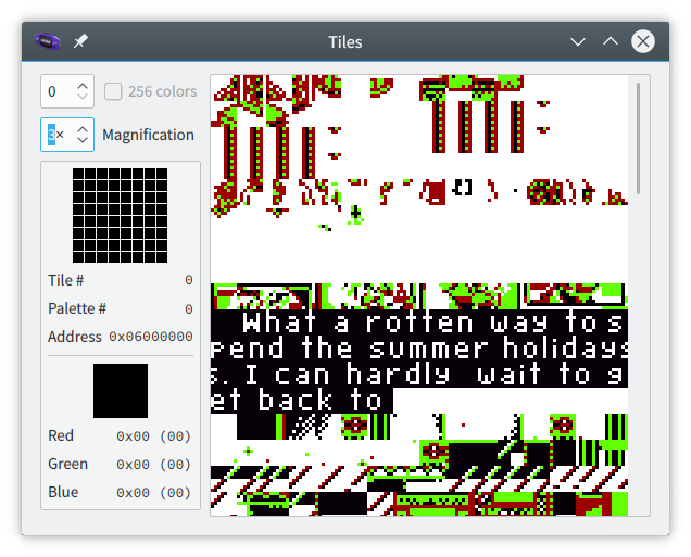 Tile display for the above screenshot, showing that the text is simply written across consecutive tiles