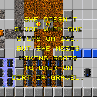 "Screenshot of CC2, with an overlaid hint saying: ""She doesn't slide when she steps on ice.  But she needs hiking boots to walk on dirt or gravel."""