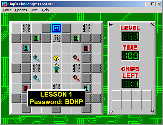 Screenshot of the Microsoft edition of Chip's Challenge, showing the first level, courtesy of the BBC wiki