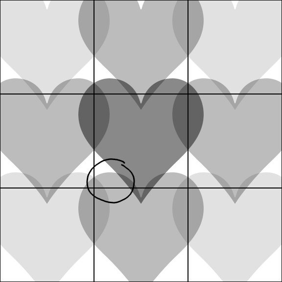 A 3×3 grid of hearts expanding out of their cells, showing that the top of a heart can grow into the cell above.